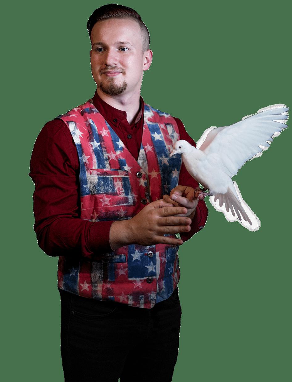 Kouzelníkproděti JakubBílek kouzelnické představení s živými zvířátky