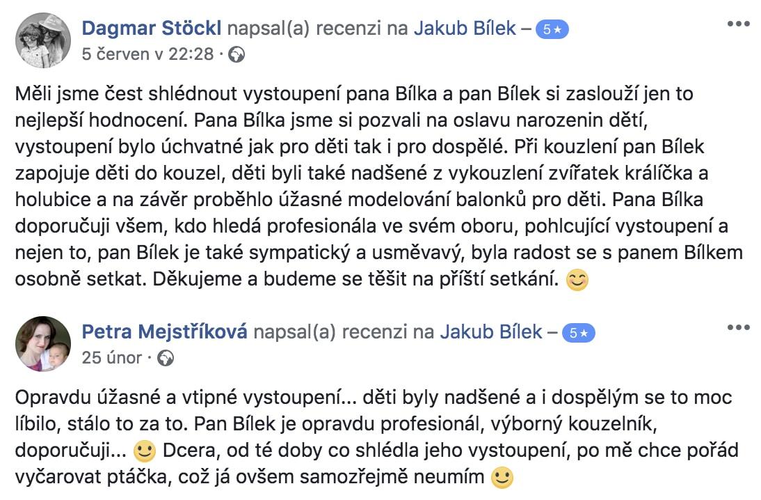 Kouzelník pro děti Praha, recenze Jakub Bílek